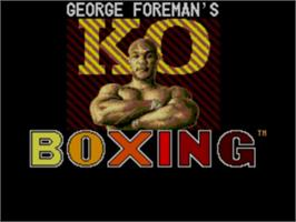Title screen of George Foreman's KO Boxing on the Sega Master System.