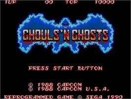 Title screen of Ghouls'n Ghosts on the Sega Master System.