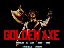 Title screen of Golden Axe on the Sega Master System.