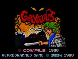 Title screen of Golvellius: Valley of Doom on the Sega Master System.