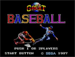 Title screen of Great Baseball on the Sega Master System.