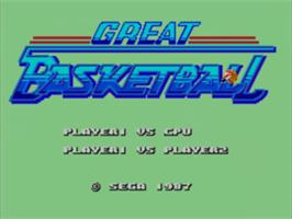 Title screen of Great Basketball on the Sega Master System.