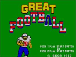 Title screen of Great Football on the Sega Master System.