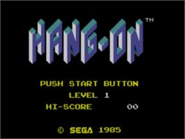 Title screen of Hang-On on the Sega Master System.