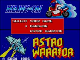 Title screen of Hang-On & Astro Warrior on the Sega Master System.