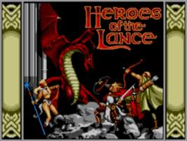 Title screen of Heroes of the Lance on the Sega Master System.
