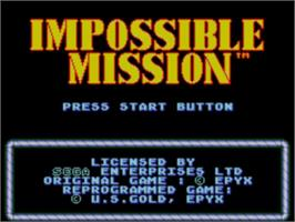 Title screen of Impossible Mission on the Sega Master System.