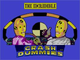 Title screen of Incredible Crash Dummies on the Sega Master System.