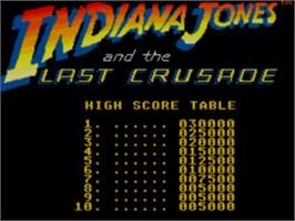Title screen of Indiana Jones and the Last Crusade: The Action Game on the Sega Master System.
