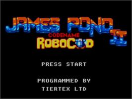 Title screen of James Pond 2: Codename: RoboCod on the Sega Master System.