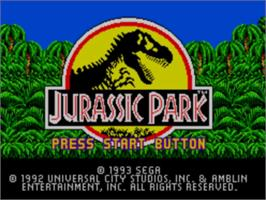 Title screen of Jurassic Park on the Sega Master System.