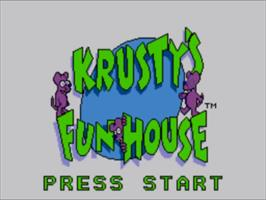 Title screen of Krusty's Fun House on the Sega Master System.