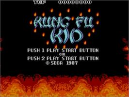 Title screen of Kung Fu Kid on the Sega Master System.