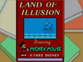Title screen of Land of Illusion starring Mickey Mouse on the Sega Master System.