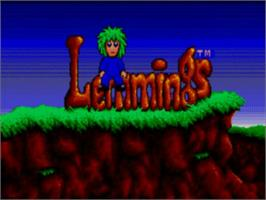 Title screen of Lemmings on the Sega Master System.