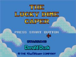 Title screen of Lucky Dime Caper starring Donald Duck on the Sega Master System.
