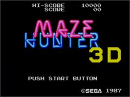 Title screen of Maze Hunter 3-D on the Sega Master System.