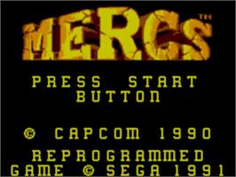 Title screen of Mercs on the Sega Master System.