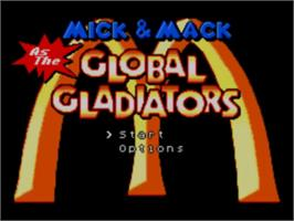 Title screen of Mick & Mack as the Global Gladiators on the Sega Master System.