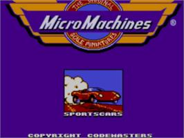 Title screen of Micro Machines on the Sega Master System.