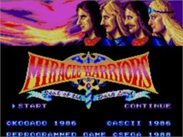 Title screen of Miracle Warriors: Seal of the Dark Lord on the Sega Master System.