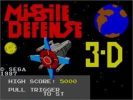 Title screen of Missile Defense 3-D on the Sega Master System.