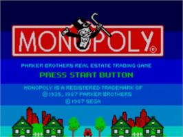 Title screen of Monopoly on the Sega Master System.