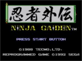 Title screen of Ninja Gaiden on the Sega Master System.