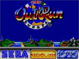 Title screen of Out Run Europa on the Sega Master System.