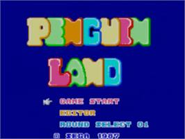 Title screen of Penguin Land on the Sega Master System.