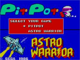 Title screen of Pit Pot & Astro Warrior: The Combo Cartridge on the Sega Master System.