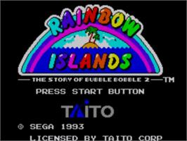 Title screen of Rainbow Islands: The Story of Bubble Bobble 2 on the Sega Master System.