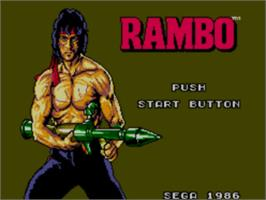 Title screen of Rambo: First Blood Part 2 on the Sega Master System.