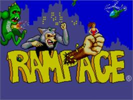 Title screen of Rampage on the Sega Master System.