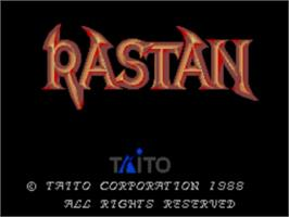 Title screen of Rastan on the Sega Master System.