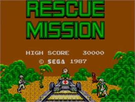 Title screen of Rescue Mission on the Sega Master System.