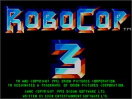 Title screen of Robocop 3 on the Sega Master System.