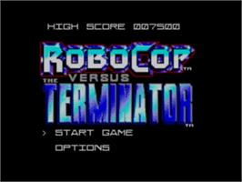 Title screen of Robocop vs. the Terminator on the Sega Master System.