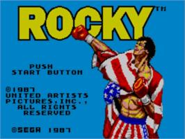 Title screen of Rocky on the Sega Master System.