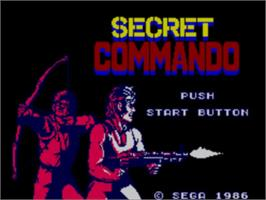 Title screen of Secret Commando on the Sega Master System.