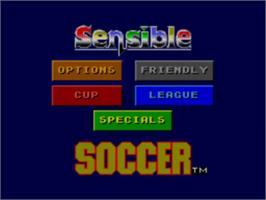 Title screen of Sensible Soccer: European Champions: 92/93 Edition on the Sega Master System.