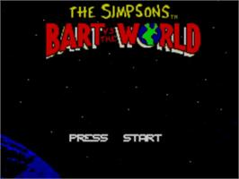 Title screen of Simpsons: Bart vs. the World on the Sega Master System.