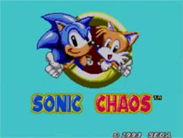 Title screen of Sonic Chaos on the Sega Master System.
