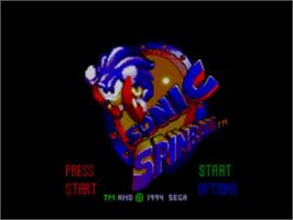 Title screen of Sonic Spinball on the Sega Master System.