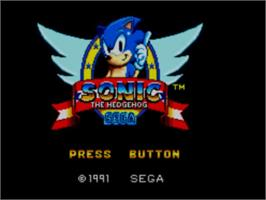 Title screen of Sonic The Hedgehog 2 on the Sega Master System.