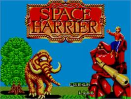 Title screen of Space Harrier on the Sega Master System.