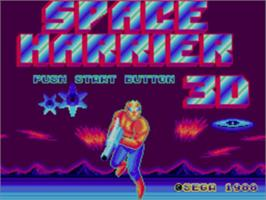 Title screen of Space Harrier 3-D on the Sega Master System.