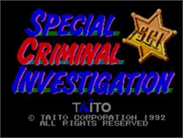 Title screen of Special Criminal Investigation on the Sega Master System.