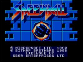 Title screen of Speedball on the Sega Master System.