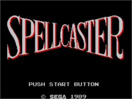 Title screen of Spellcaster on the Sega Master System.